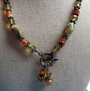 Glass and Carnelian Necklace